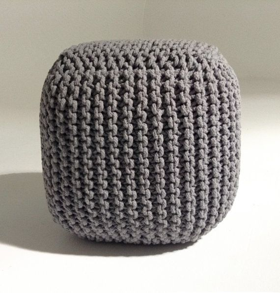 Handmade Square Knitted Pouf Light Grey 45x45x45cm By GFURN