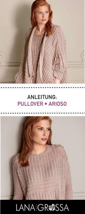 Kostenlose Strickanleitung: ausgefallender Pullover mit Rippenmuster stricken aus leichtem Arioso Garn / free knit tutorial for sweater with rib pattern via lanagrossa.de