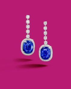 An Important Pair of 17.56 carats and 15.46 carats Burma, Mogok Sapphire and Diamond Earrings