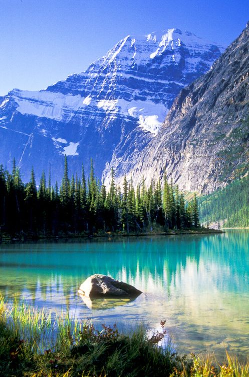 Mount Edith Cavell and Cavell lake Canada