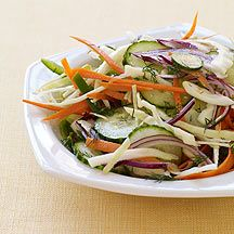 Slaw Salad - Like slaw, but better. This recipe is wonderful with burgers, chicken kabobs and grilled fish. A fantastic side dish for a summer crowd.  WW 1pt