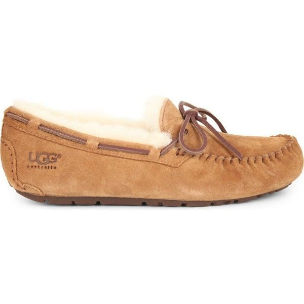 UGG Dakota suede moccasins ($130) ❤ liked on Polyvore featuring shoes, loafers, brown, suede moccasins, mocassin shoes, moccasin shoes, water resistant shoes and loafers & moccasins