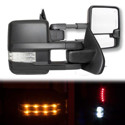 Chevy Silverado 2014-2017 Towing Mirrors Clear LED Signal Lights Power