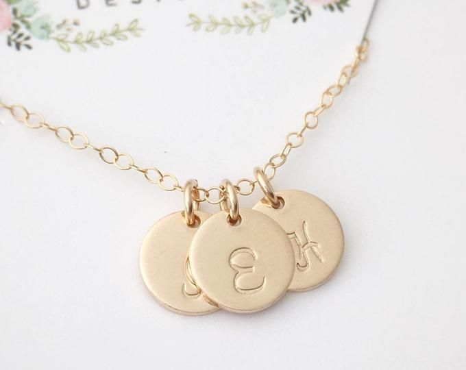 Gold Filled Initial Necklace Custom Hand Stamped Jewelry Pendant Necklace Personalized Necklace Jewelry Initial Jewelry by Limonbijoux