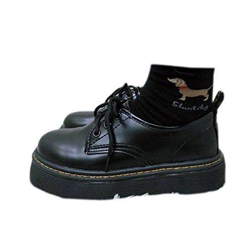 BLLendinaレディース厚底靴皮靴パンプス履きやすいフラット身長アップひもブラックPUエナメル調?