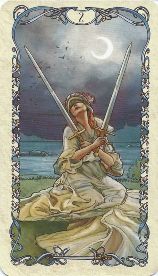 "Two of Swords - Mucha Tarot. ""Now is the time to consider a solution, an action must be taken. You must have faith in your intuition and connection with higher source energy. When you do this, you are allowing for your inner peace to be restored. Consider the fact that you are unable to see your options, so your personal perspective may be skewed."""