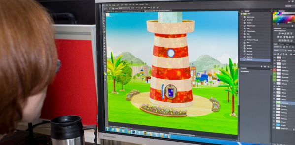 Working on the Uncle Skippers lighthouse image which is the background for a number of episodes