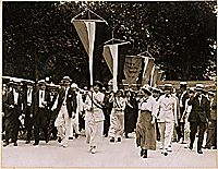 Bastille Day spells prison for sixteen suffragettes who picketed the White House. Miss Julia Hurlbut of Morristown, New Jersey, leading the sixteen members of the National Woman's Party who participated in the picketing demonstration in front of the White House, Washington, District of Columbia, July 14,1917, which led to their arrest. These sixteen women were sent to the workhouse at Occoquan, on July 17, 1917, upon their refusal to pay fines, but were pardoned on July 19, 1917.