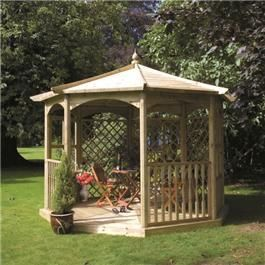 The Regis is a 8-sided Gazebo that has been beautifully designed and crafted. Made from pressure treated wood this gazebo requires no treatment or maintenance. This gazebo is available in four styles to suit the customer s needs. Model A 1 x Mirror Lattice Screen 2 x Glass Panels 2 x Lattice trellis 2 x Balustrade Panels. Model B 5 x Glass Panels 2 x Balustrade panels. Model C 1 x Mirror lattice 4 x Lattice trellis 2 x balustrade Panels. Band Stand No Panels