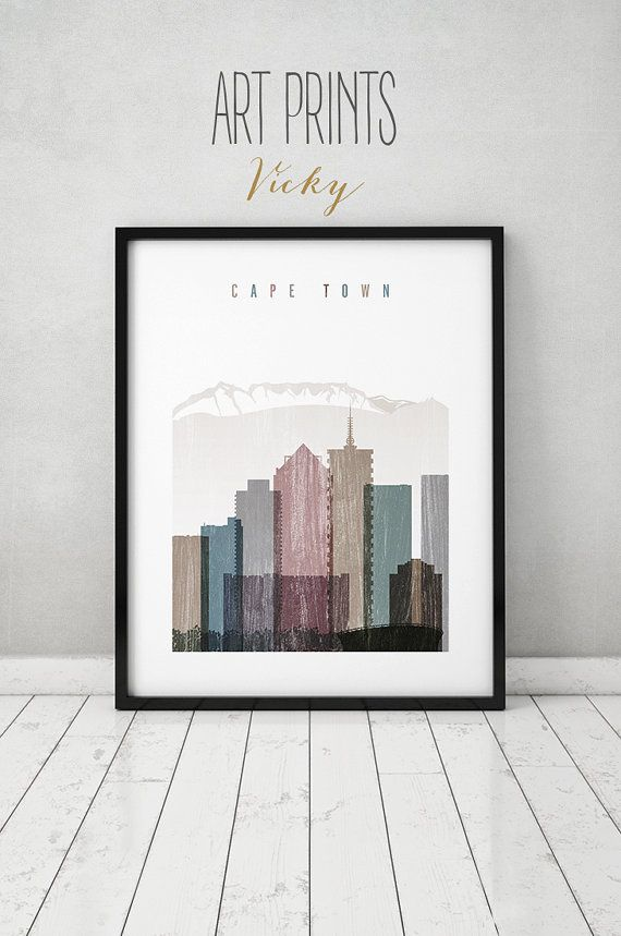 Cape Town art print Poster Wall art Travel distressed