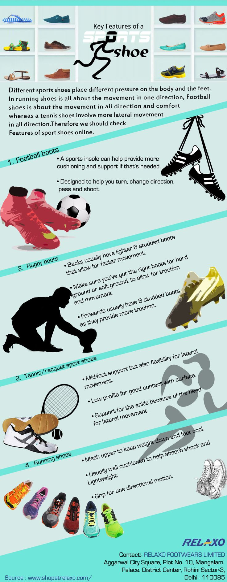 Key Features of a Sports Shoes Different sports shoes place different pressure on the body and the feet. In running shoes is all about the movement in one direction, Football shoes is about the movement in all direction and comfort whereas a tennis shoes involve more lateral movement in all direction. Therefore we should check Features of sport shoes online.  Key Features of Different types of Sports shoe –  1.Football boots : •a sports insole can help provide more cushioning and support…