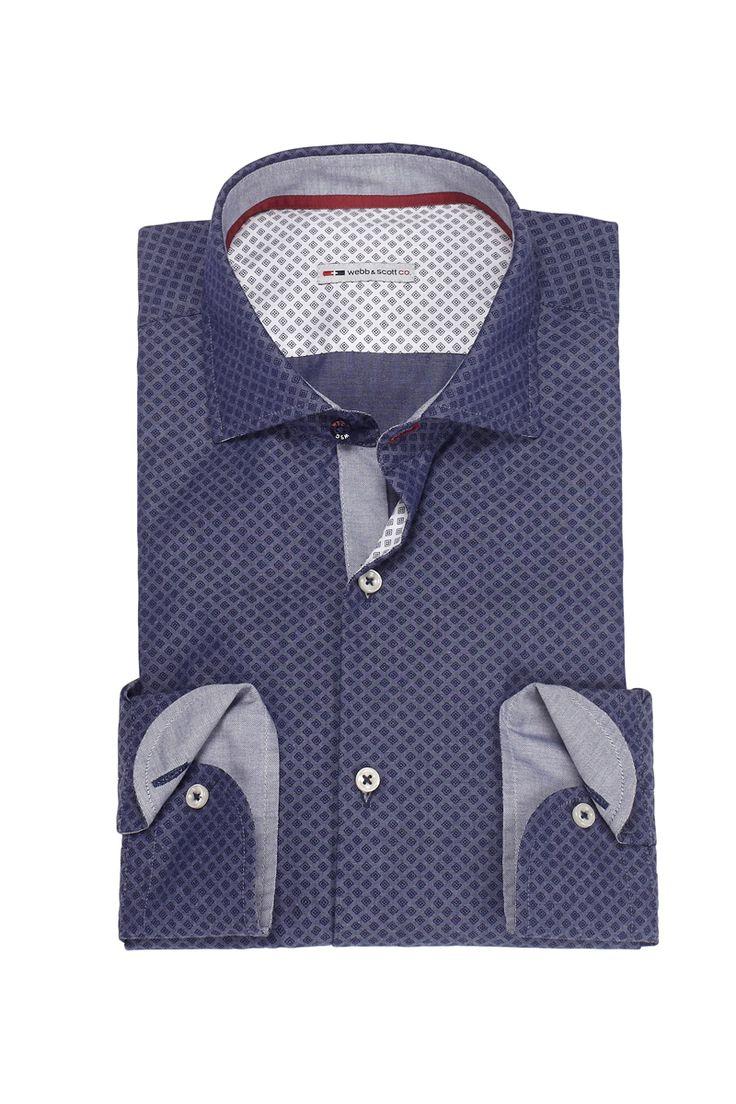 Camicia blue notte con micro-rombi.  Seguici anche su                            www.redisrappresentanze.it