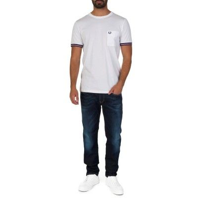 Fred Perry White Bomber Striped Cuff T-Shirt - Short Sleeve T-shirts - T-Shirts