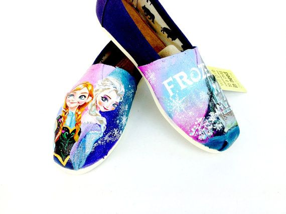 Customized Frozen Elsa & Anna Disney Toms by Artsysole45 on Etsy @Tom Kennedy Wilkie