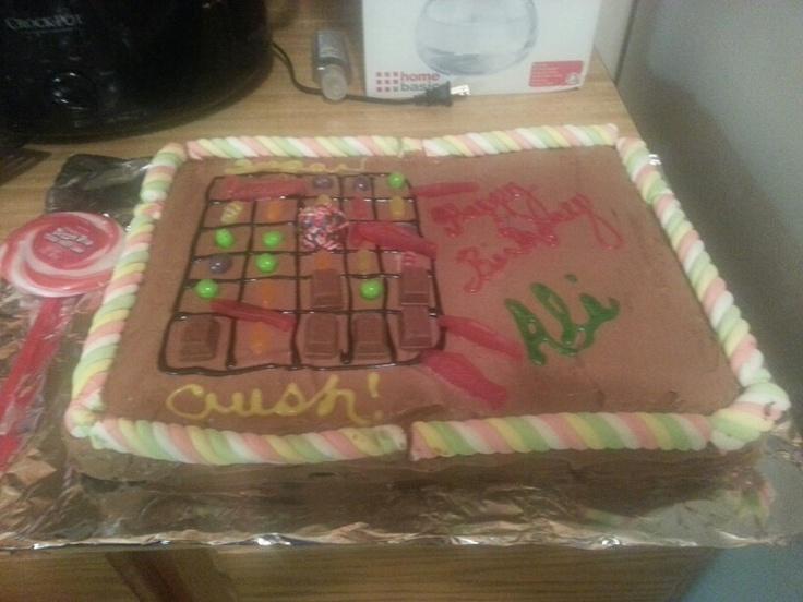 Candy crush cake!!  1/2 yellow 1/2 chocolate cake with chocolate whipped cream f…
