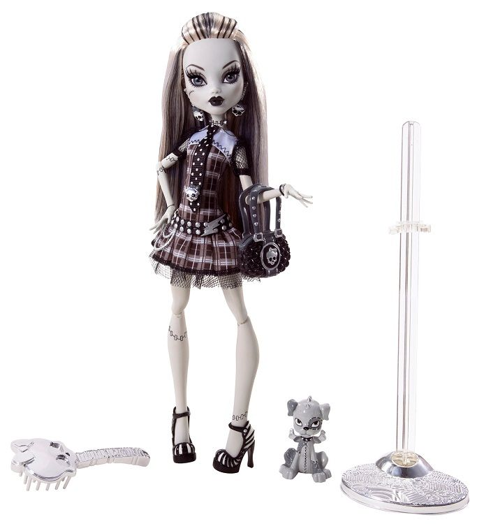 Frankie Stein was trademarked on October 23, 2007 and her first doll came out in Early July, 2010. As of January 01, 2015, her doll number totals 34 and makes up 10.00% of the entire Monster High doll collection. As a main character, there is a decent variety of other merchandise of her available. Doll: Frankie wears her hair strait and loose, with even white and black streaks. She has bangs bulled up over her head, with a slight puff, and this strand of hair is attached to the back of…