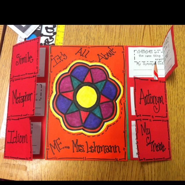 Foldable activity, completed using figurative language, synonyms and antonyms, with a glyph used for the center of the cover.