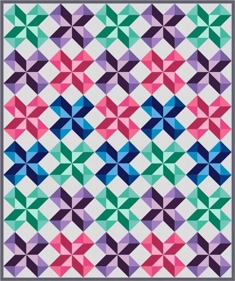 Chevron Stars designed by Robert Kaufman Fabrics. Features Kona Cotton. FREE pattern available in January 2017 (robertkaufman.com) #FREEatrobertkaufmandotcom #konacotton