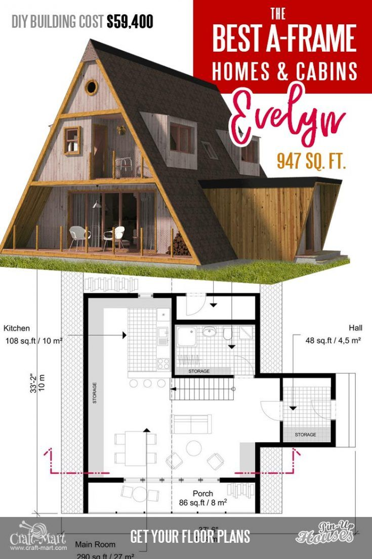 Cool A Frame Tiny House Plans Plus Tiny Cabins And Sheds Craft Mart In 2020 A Frame House Plans A Frame House Cabin House Plans