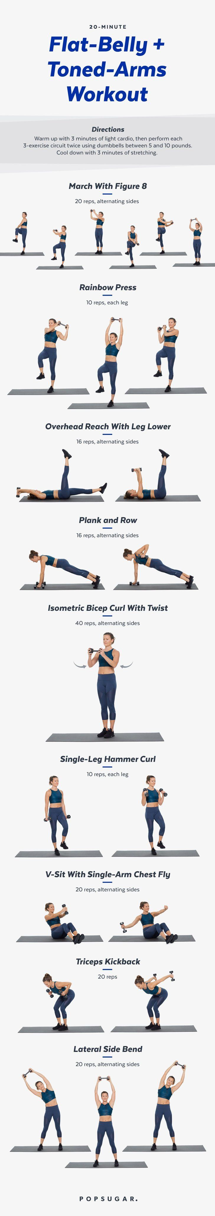 Ready to feel ab-tastic? Reach for a set of medium-size weights to work both the arms and the core. Click ...