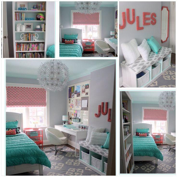 Dormitorio juvenil turquesa - rosa - gris