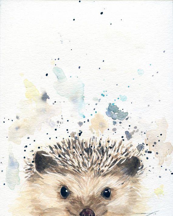Hedgehog Art – Woodland Animal – Nursery Animals -…