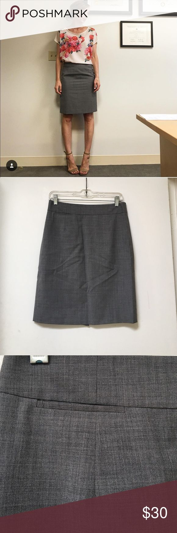 J.Crew Factory gray pencil skirt size 4 Great gray pencil skirt - jcrew factory. Size 4. Great for work! (Excuse the wrinkles - just needs an iron). Worn just a few times. Doesn't fit anymore. J.Crew Factory Skirts Pencil
