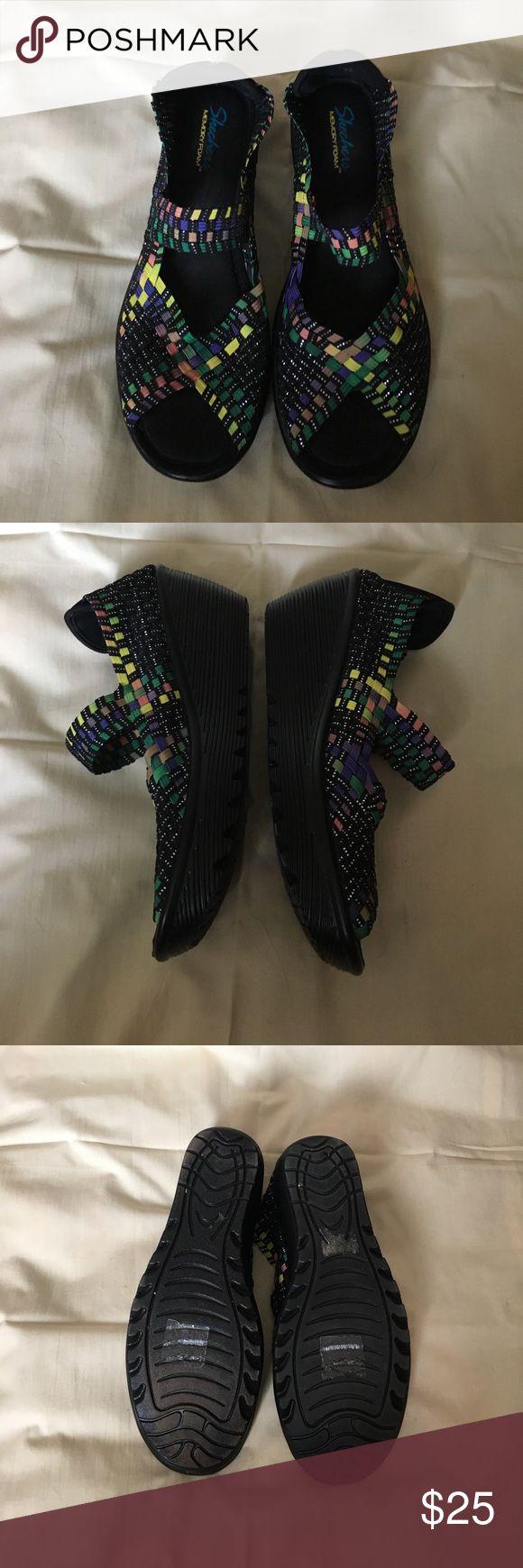 "skechers wedge shoe multi coloured memory foam wedge shoe . open toed. heel 2.5"" platform 0.5"". barely worn Skechers Shoes Wedges"