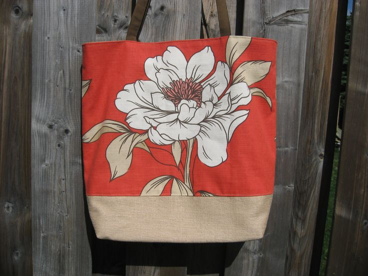 Bold print on linen tote