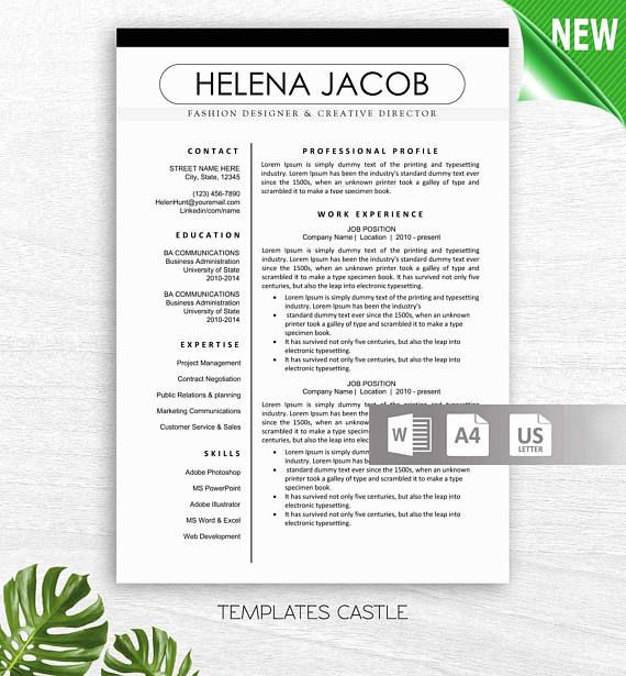 Professional and Modern Resume/ CV Template for Word Cover