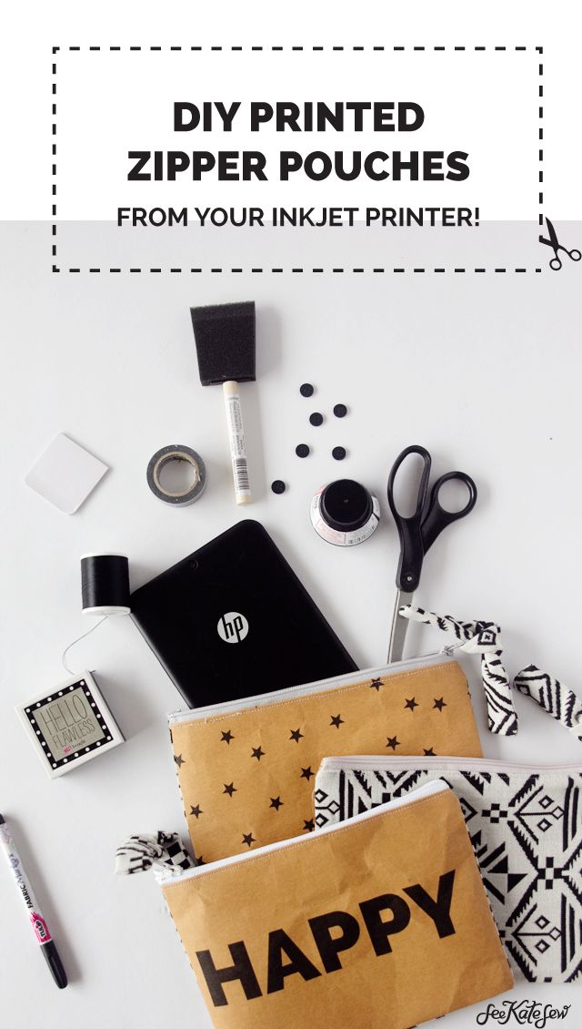 DIY Printed Zipper Pouch (from your inkjet printer!)