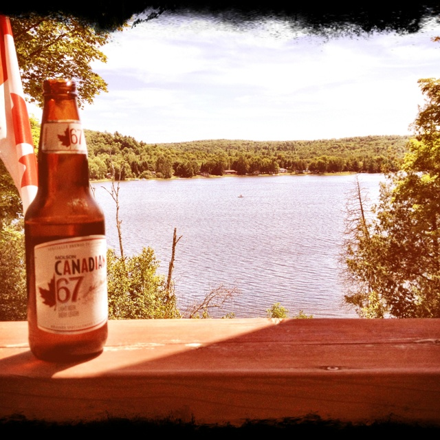 Nothing like a cold beer on a hot day and being a proud Canadian