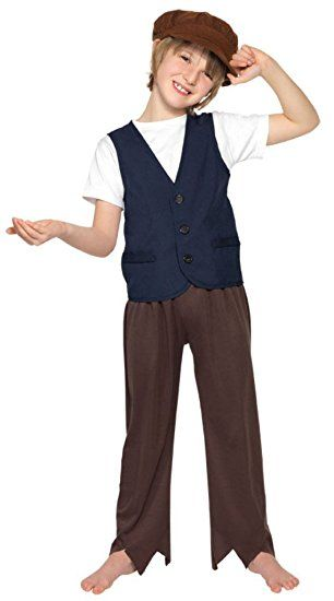 Smiffy's Children's Victorian Poor Peasant Boy,  Waistcoat and Hat, Ages 10-12, Size: Large, Color: Blue and Brown, 33707