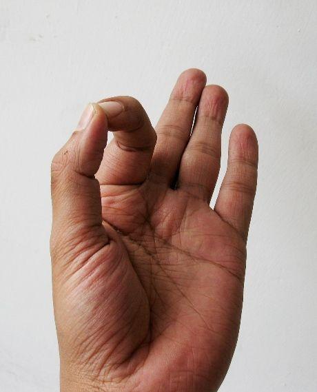 Die Mudra wird durch Verbinden Spitzen der Zeigefinger und Daumen gebildet.  Die drei ausgestreckten Finger repräsentieren Sattva, Rajas und Tamas Gunas. Gyan Mudra ist ein Heilmittel für psychische Störungen, Schlaflosigkeit, Bluthochdruck und Depressionen. Gyan Mudra verbessert Gedächtnis und verbessert die Konzentration. 15 Minuten bis 45 Minuten