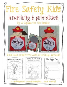 Teach your little ones about fire safety with this adorable craftivity!  Your students will make cute fire kids {fire hat and all!} and complete a writing prompt, of course!  They will also create a fire escape plan, and learn how to use a fire extinguisher!Included:*fire kids craftivity pics, patterns, and directions*3 versions of the safety tips writing prompt: one with tips already written; one with space for students to write the tips; one with just lines*11 different worksheets…