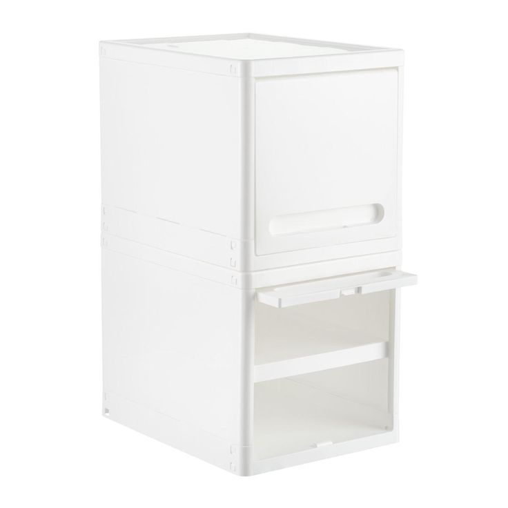 Enjoy free shipping on all purchases over $75 and free in-store pickup on the White Plastic Storage Cube with Retractable Door at The Container Store. Designed to make the most of limited storage space, our Plastic Storage Cube with Retractable Door is an easy way to restore order. Its door flips up and recedes, providing wide access to contents. Whether you need to clear clutter on a desktop, kitchen or bathroom counter, or to a craft room, this good-looking single unit can be a versatile…