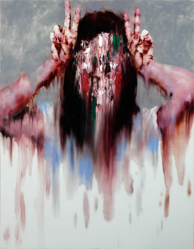 Hands by her head. Painting by KwangHo Shin