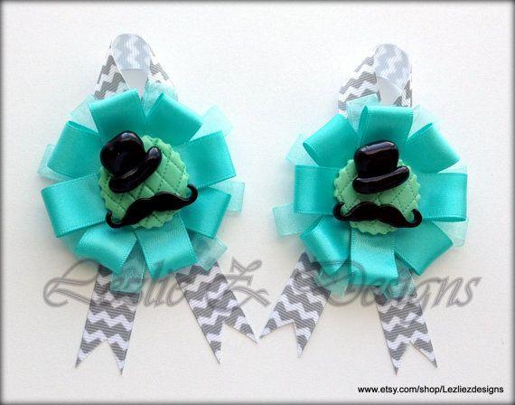 Little Man/Gentleman Hat Mustache Theme Baby Boy Shower Guest Corsage Pin Keepsake Sets - Cold Porcelain Favor Gray Chevron Ribbon Capia Mum by LezlieZDesigns