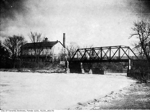 Bridge across the Humber River at Lambton House, built in 1907 and torn down after Hurricane Hazel.