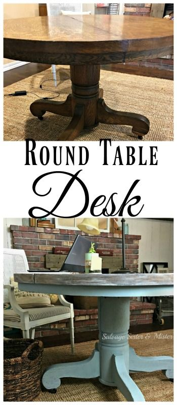 I received a free wood table that had some damage on it, but when I really needed was a desk for my home office for the One Room Challenge.  What to do?  Paint the table with chalk paint and some lime wash, and use it as a round table desk.  Its great to have enough room to work on my projects.  Easy DIY painted furniture project.