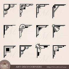 ART DECO esquinas gráfico Digital Clip Art por MNINEDESIGNS en Etsy