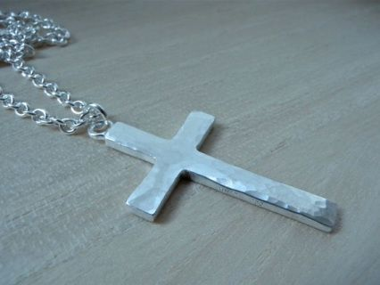 """Large cross silver necklace with 25"""" long chain. Hammered silver cross necklace, mens style unique christian jewelry by Kristian Jessie Silver"""