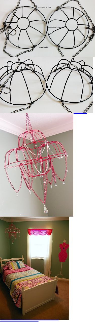 modified pin: DIY Chandelier- use hanging baskets for the capiz pendant instead of wreath frames!