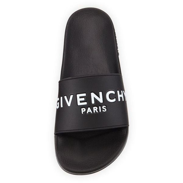 Givenchy Logo Rubber Sandal Slide ($315) ❤ liked on Polyvore featuring shoes, sandals, shoes., black shoes, rubber sandals, black slip on sandals, strappy platform sandals and strap sandals
