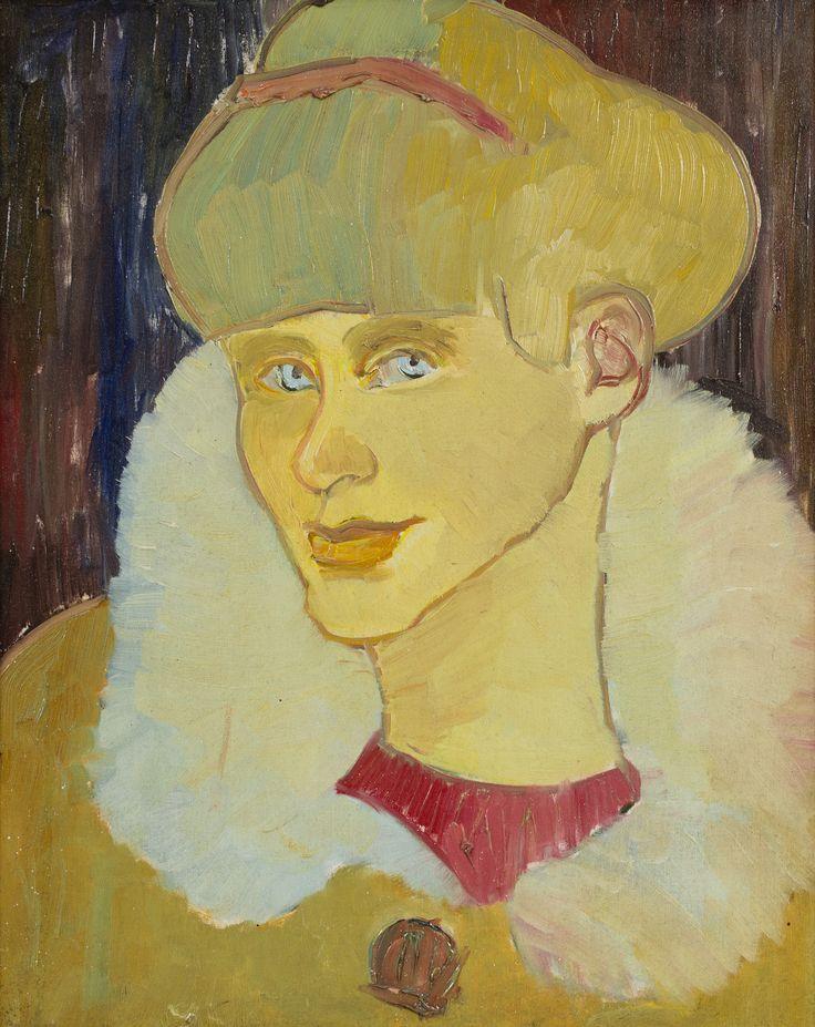 """Portret kobiety namalowany przez Mariana Matyaszczyka w latach 50. XX w. Autor, artysta plastyk w specjalności architektura wnętrz i wzornictwo przemysłowe, w latach 1959-1970 pracował w Fabryce Galanterii """"Lech"""" w Gnieźnie. Skrótowe, ekspresyjne ujęcie, ale też nuta subtelnej czułości w oddaniu spojrzenia wskazują, że malarza łączyła z nić sympatii z portretowaną, a obraz nie był """"pracą zleconą""""."""