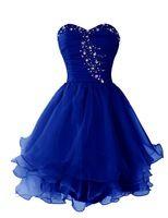 Royal Blue Short Prom vestido con volantes bordoneado Sweetheart escote cortos adolescentes vestido de fiesta en rosa rojo negro menta