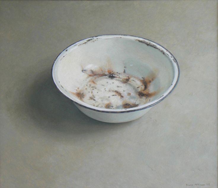 Diane McLean Liam's water bowl on studio floor (2008), oil on board, 640 x 740 mm.