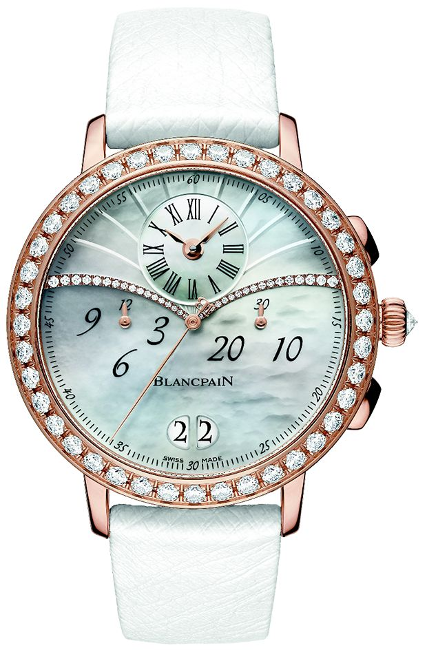 BLANCPAIN-One of the brand's exquisite watches, The Chronographe Grande Date, throughly embodies subtle luxury and femininity. It has an 18K rose gold case with a bezel and is studded with 40 diamonds.