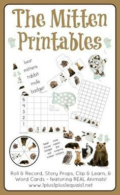 """Printables to go along with the book, """"The Mitten"""" by Jan Brett.  Dot Fun, Roll & Record, Story Props, Clip & Learn {beginning sounds}, and Read & Write the Room Word Cards"""
