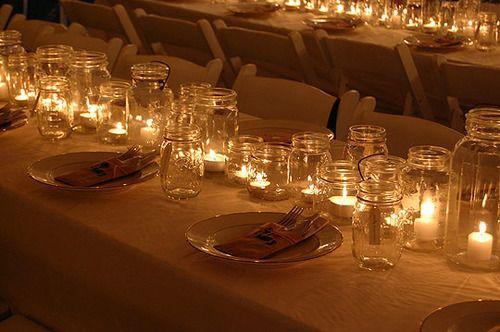 Outdoor reception; lighting; casual elegance: Ideas, Masons, Wedding, Parties, Teas Lights, Mason Jars Centerpieces, Glasses Jars, Jars Lights, Mason Jars Candles